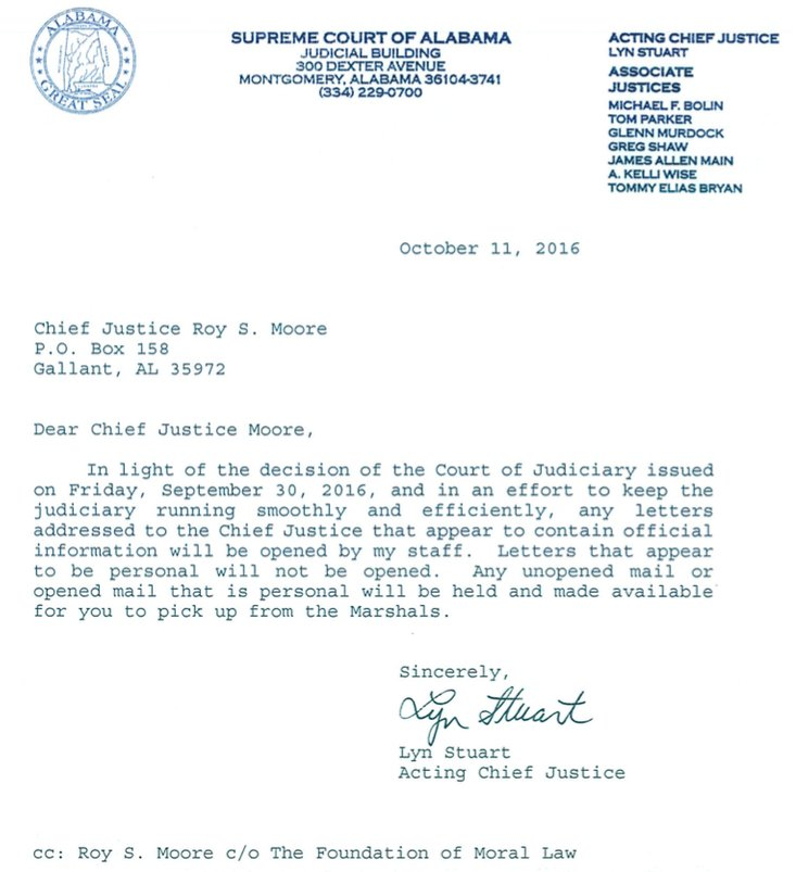 Letter to Roy Moore informing him about his correspondence being now handled by his acting replacement.